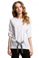 Oryginalna Oversizowa Bluzka z Wiązaniem - Czarna Kokarda