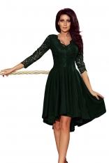 Ciemnozielona Wieczorowa Asymetryczna Sukienka z Koronką