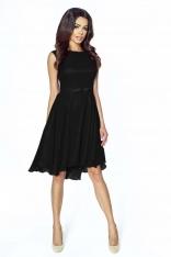 Zwiewna Czarna Galowa Sukienka z Kokardką