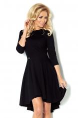 Czarna Sukienka z Szerokim Asymetrycznym Dołem