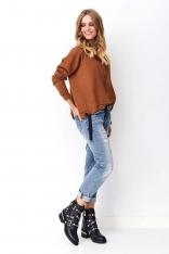 Krótka Asymetryczna Bluza z Ozdobnymi Tasiemkami - Kamelowa