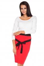 Czerwono-czarna Ołówkowa Spódnica z Kontrastowym Wiązanym Paskiem