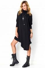 Czarna Asymetryczna Sukienka Dzianinowa z Golfem