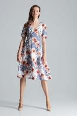 Klasyczna Rozkloszowana Sukienka za Kolano z Dekoltem V Wzór 107