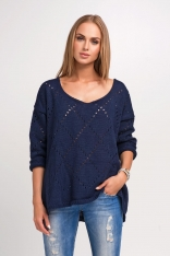 Oversizowy Granatowy Sweter Ażurowy z Dekoltem V