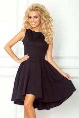 Czarna Sukienka bez Rękawów z Rozkloszowanym Asymetrycznym Dołem