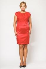 Czerwona Elegancka Wizytowa Sukienka z Koronką PLUS SIZE