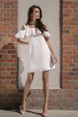 Pudrowa Wyjściowa Luźna Sukienka z Odkrytymi Ramionami