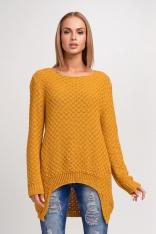 Akrylowy Miodowy Sweter z Dłuższym Tyłem