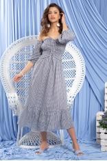 Granatowa Midi Sukienka w Stylu Boho w Białą Krateczkę