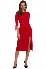 Wizytowa Sukienka z Rozcięciem na Boku w Czerwonym Kolorze