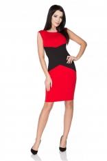 Czerwona Sukienka Ołówkowa bez Rękawów z Czarną Wstawką