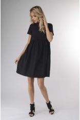 Czarna Kobieca Zwiewna Sukienka z Krótkim Rękawem