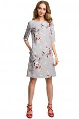 Szara Prosta Sukienka w Kwiatowy Deseń z Jednolitą Wstawką