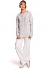 Uniwersalny Sweter z Warkoczowym Splotem - Szary