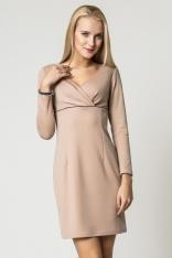 Beżowa Klasyczna Sukienka Zakładana pod Biustem