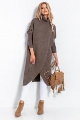 Długi Kopertowy Sweter z Golfem - Espresso
