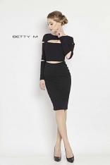 Elegancka Wąska Czarna Sukienka z Pęknięciami