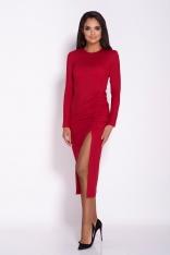 Czerwona Ołówkowa Midi Sukienka z Drapowaniem
