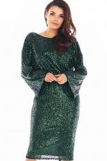 Cekinowa Sukienka z Dekoltem na Plecach - Zielona