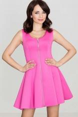 Różowa Rozkloszowana Sukienka bez Rękawów z Długim Suwakiem na Przodzie