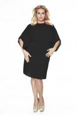 Czarna Sukienka Elegancka Dwuwarstwowa Kimonowa Plus Size