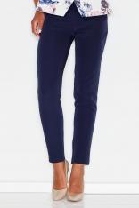 Niebieske Kobiece Klasyczne Spodnie na Gumie