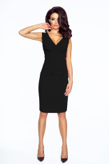 Czarna Elegancka Sukienka Wizytowa z Głębokim Dekoltem
