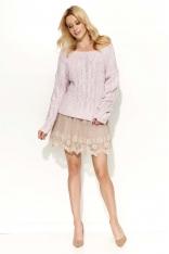 Różowy Sweter Melanżowy z Warkoczami