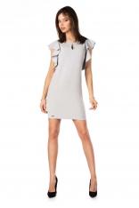 Szara Ołówkowa sukienka z Falbankami na Ramionach