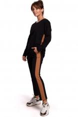 Czarne Dresowe Spodnie z Lampasem