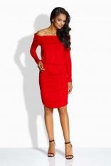 Czerwona Sukienka Drapowana z Szerokim Dekoltem