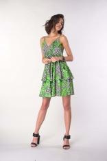 Sukienka na Ramiączkach z Zakładanym Dekoltem - Liście