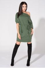 Zielona Sukienka Dzianinowa z Nakładanymi Kieszeniami