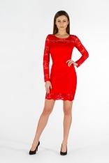 Czerwona Sukienka Ołówkowa Mini z Koronki przed Kolano