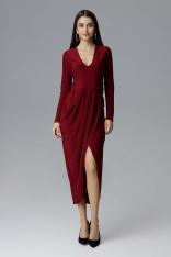 Bordowa Wizytowa Długa Sukienka z Asymetrycznym Rozcięciem