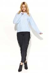 Błękitny Sweter Klasyczny Melanżowy z Okrągłym Dekoltem