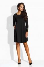 Czarna Sukienka w Kształcie Litery A ze Złotymi Guzikami