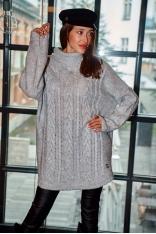 Oversizowy Sweter z Golfem w Warkocze - Szary