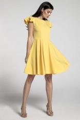 Żółta Rozkloszowana Sukienka z Rękawkiem Typu Motylek