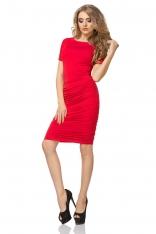 Czerwona Sukienka przed Kolano z Marszczeniami