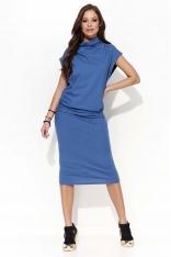 Jeansowa Sukienka Midi Marszczona na Boku