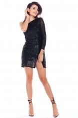 Czarna Cekinowa Sukienka na Jedno Ramię