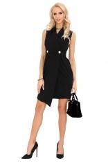 Czarna Asymetryczna Sukienka Żakietowa bez Rękawów