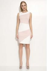 Różowo Ecru Sukienka Ołówkowa Dwukolorowa bez Rękawów