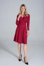 Sukienka z Kopertowym Dekoltem z Prążkowanej Dzianiny - Czerwona