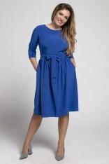 Niebieska Klasyczna Sukienka z Marszczonym Dołem PLUS SIZE