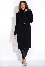 Czarny Długi Wełniany Sweter Kardigan ze Stójką