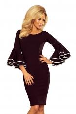 Czarna Sukienka Dopasowana Wizytowa z Hiszpańskim Rękawem