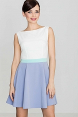 Romantyczna Sukienka bez Rękawów - Niebieska